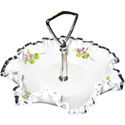SALE Fenton Violets In The Snow Tidbit or Candy Tray