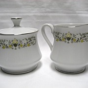 Sterling China Florentine Creamer and Covered Sugar