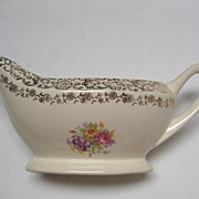 SALE French Saxon China Gold Lace Gravy Boat and Oval Platter