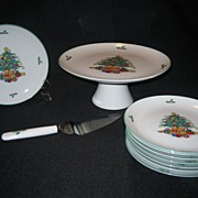 SALE 10 Pc. Christmas Cake Serving Set - Made In Japan