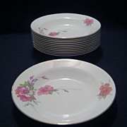 Homer Laughlin Wild Pink Rose Rimmed Soup Bowls - 12 Available