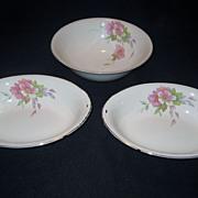 4 Homer Laughlin Wild Pink Rose Bowls - 3 Serving, 1 Finger Bowl
