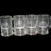 Set of 4 Etched Maritime Glass Mugs