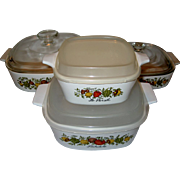 """SALE 4 Piece Set Corning Ware """"Spice of Life"""" with Lids"""