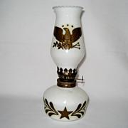 SOLD Miniature Milk Glass Oil Lamp - Hong Kong
