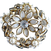 SALE Goldtone Brooch With Faux Pearls, Rhinestones and Enameled Leaves