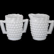 Fenton White Hobnail Milk Glass Mini Creamer and Sugar
