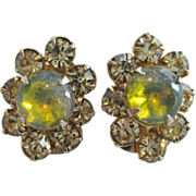 SALE PENDING Weiss Citrine and Pale Yellow Rhinestone Clip Earrings