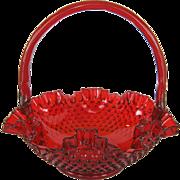 Fenton Large Ruby Red Hobnail Basket