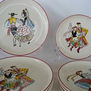 SALE Set of 8 West Germany Ethnic Folk Dancer Plates
