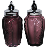 Fenton for LG Wright Paneled Sprig Amethyst Salt and Pepper Shakers