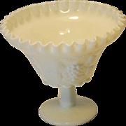 Westmoreland White Milk Glass Paneled Grape Compote