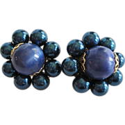SALE PENDING Navy Blue Beaded Clip-On Earrings - Japan