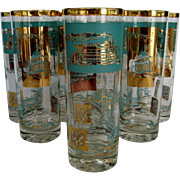 Set of 8 Highball Glasses - Steamboat Theme