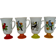 SALE Set of 4 Footed Bird Mugs - Japan