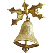 Dodds Goldtone Christmas Bell Pin