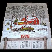 SALE 1978 Calendar Towel - Hayride Scene