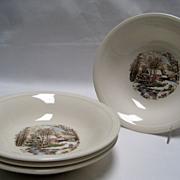 SALE Set of 4 Edwin Knowles Winter Scenes Fruit/Dessert Bowls