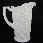 SOLD Westmoreland Old Quilt Milk Pitcher - White Milk Glass