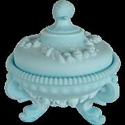 Westmoreland Blue Satin Glass Argonaut Shell Covered Candy Dish