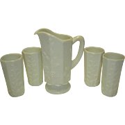 SALE Westmoreland Paneled Grape Pitcher and 4 Tumblers