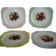 Set of 7 Crooksville Square Salad Plates with Fruit Decor - Various Colors