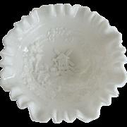 Imperial Milk Glass Ruffled Windmill Bowl