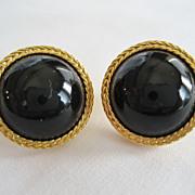 Liz Claiborne Black and Goldtone Button Pierced Earrings