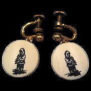 Bone or Celluloid Eskimo Earrings - 12K GF