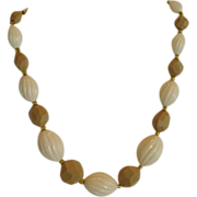 Cream and Tan Beaded Necklace - Western Germany