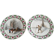 Pair of Royal Rudolstadt Prussia Hand Painted Winter Scene Decorative Plates