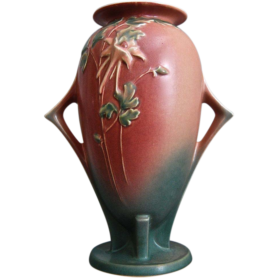 "Monumental Roseville Pottery Columbine Vase #25-12"", Pink, Ca. 1941"