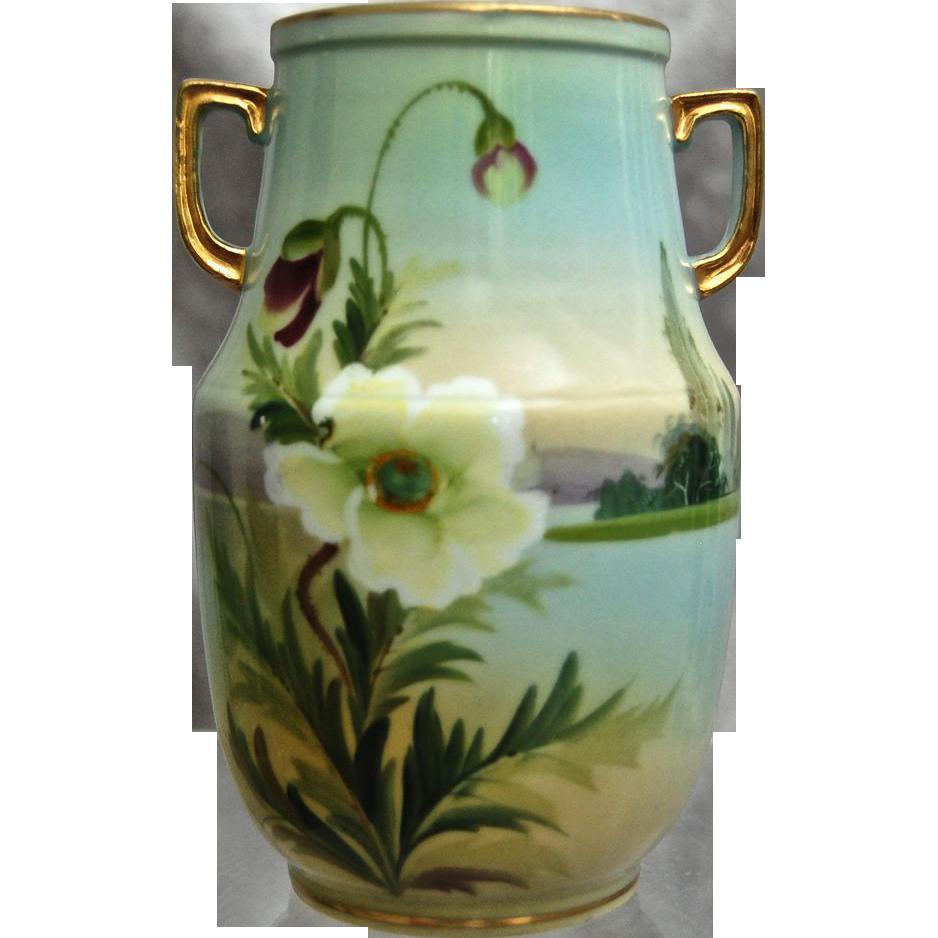 Noritake Nippon Hand Painted Scenic Vase w/Poppies