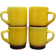 Fire King Stackable Mugs, Banana Yellow, Set of 4