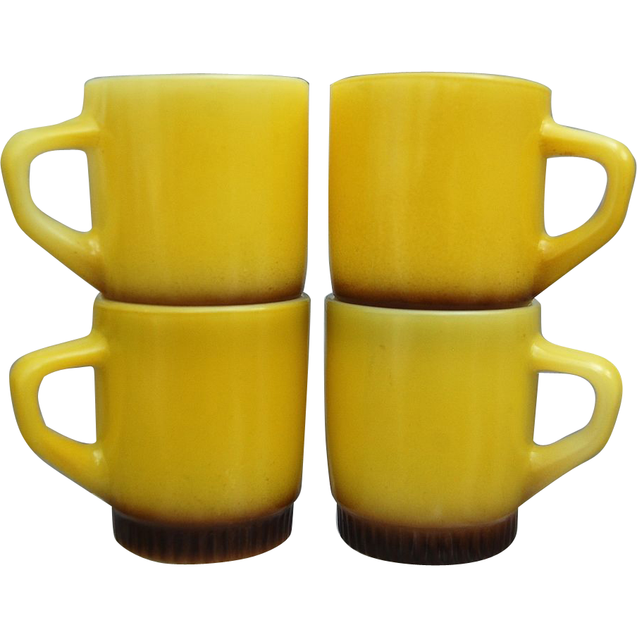 Fire King Stackable Mugs, Banana Yellow, Set of 4