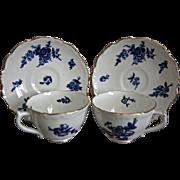 Coalport China Blue Floral Teacup & Saucer, Set of 2, Free Shipping!