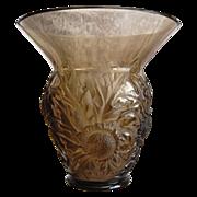 "REDUCED Verlys France ""Alpine Thistle"" Vase, Smoky Topaz, Ca. 1932"