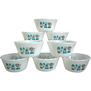 "REDUCED Fire-King ""Blue Heaven"" Custard Cups, Set of 8, w/Labels"
