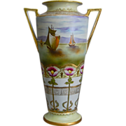 "Imperial Nippon 14"" Handpainted Vase w/Seascape, Circa 1910"