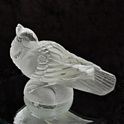 SOLD Barolac Czech Crystal Goldfinch Paperweight w/Label