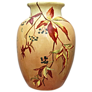 "Handpainted 10"" Earthenware Vase, Virginia Creepers, Artist Signed/Dated 1883"