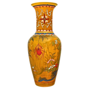 REDUCED Peking Glass Vase w/Spider Motif, Imperial Yellow