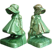 Cowan Pottery Sunbonnet Girl Bookends #521, Pair, Antique Green, Circa 1929