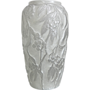 "SOLD Phoenix Glass ""Reuben Line"" Bittersweet Vase w/Label, White Wash, Ca. 1934"