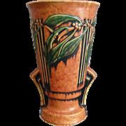 """Roseville Pottery Laurel Vase #677-12"""", Red, Circa 1934"""