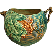 "Roseville Pottery Bushberry Rose Bowl #411-8"", Green, Ca. 1941"