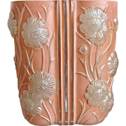 Phoenix Glass Sculptured Artware Cosmos Vase, Coral Satin, Circa 1934