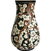 French Enameled Studio Pottery Vase