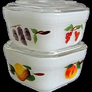 SOLD Fire-King Vintage Fruit Refrigerator Dishes, Set of 2