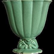 """Cowan Pottery 7"""" Seahorse Fan Vase, Maple Green, Circa 1926"""